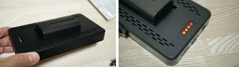 Andoer LEDビデオライト バッテリー挿入口