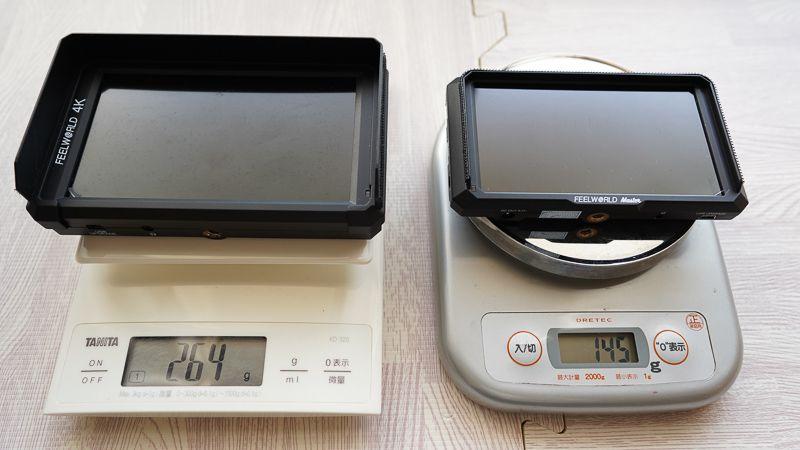 左がFeelworld F6 質量が264g、右がFeelworld Master MA5 質量が145g