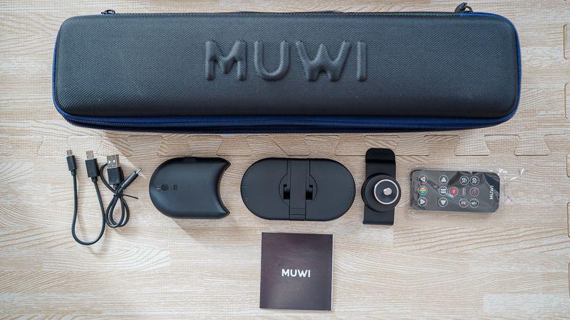 左からUSB充電ケーブル、USB3.1ケーブル、FLOW X(リモコンドリー)、MUWI本体、SWIVEL CLIP(一眼カメラ用アダプター)、FLOW X 用リモコン