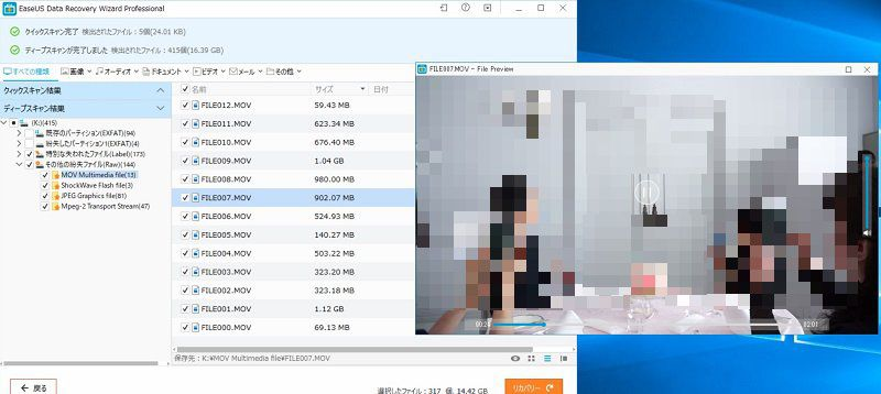 EaseUS Data Recovery Wizard Pro で復元できる動画ファイル
