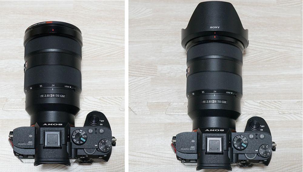 左はレンズフード無 右はレンズフード有のFE24-70mm F2.8 GM