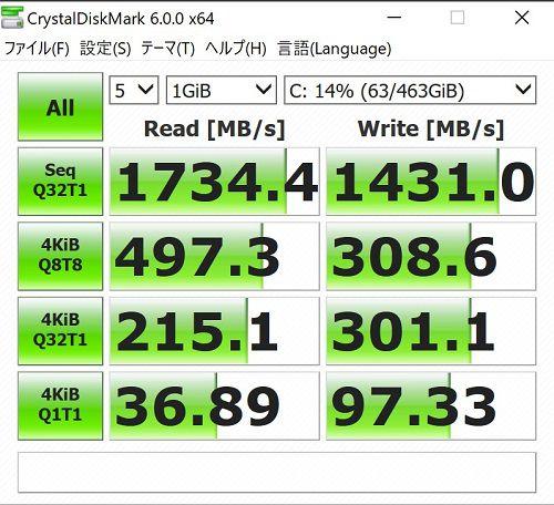 Inspiron 13 7000 2-in-1 7326 内蔵のM.2 SSDベンチマーク