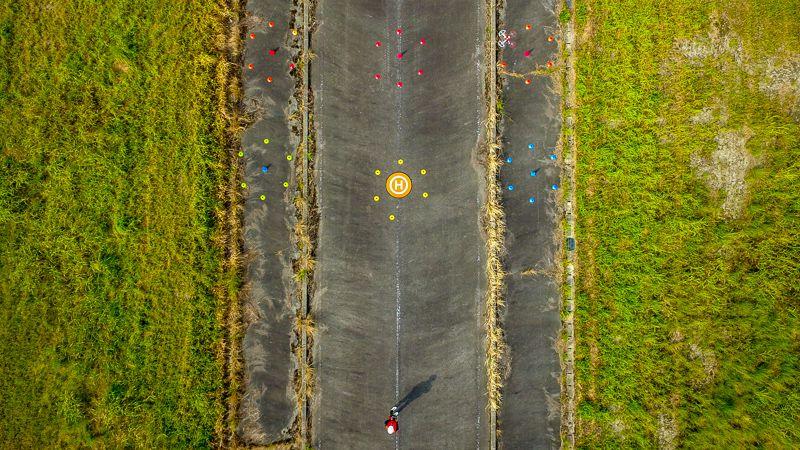 九州ドローンスクールの屋外講習俯瞰写真