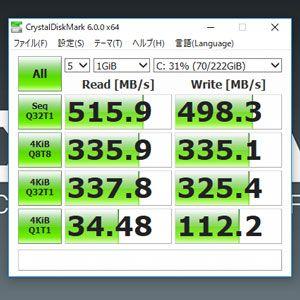 CrystalDiskMarkのSSD検証結果
