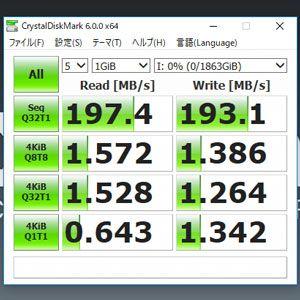 CrystalDiskMarkのHDD検証結果
